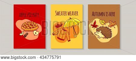 Autumn Cozy Mood, Three Postcard Template. Childish Card With Apple Pie, Sweater, Socks, Umbrella, H