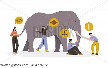 Four Blindfolded Male And Female Characters Touching An Elephant On White Background. People With Di