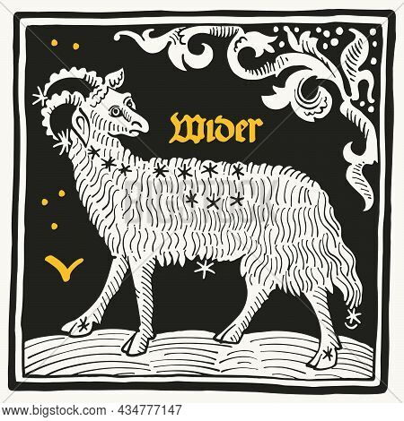 Aries Or Ram Zodiac Sign And Constellations. Illustration In Medieval Style With Black-letter Letter