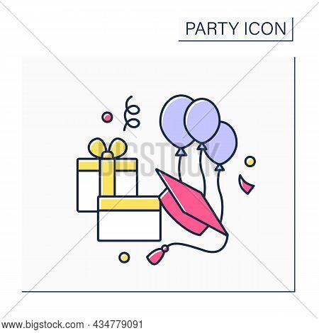 Graduation Party Color Icon. Ceremony Rewards School Or College Degrees And Diplomas. Gift-giving Ce