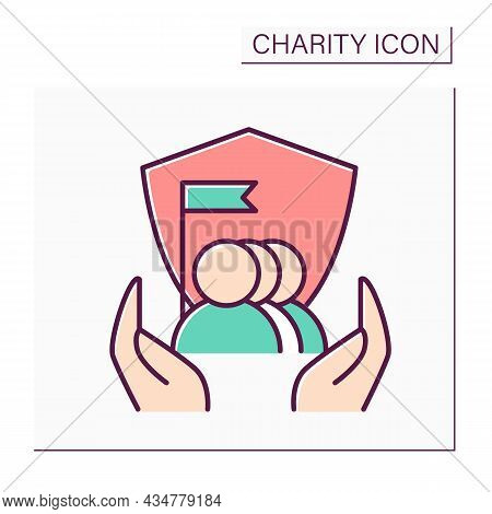 Human Rights Protection Color Icon. Combating Discrimination And Inequality. Human Care.protection O