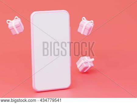 A Mockup Of A Mobile Phone With An Empty White Screen, And Flying Gifts. 3d Rendering.