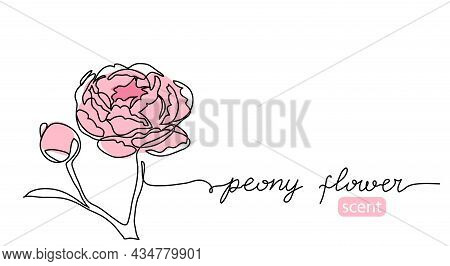 Peony Flower Continuous Line Drawing Vector. Minimal Background Design With Pink Peony
