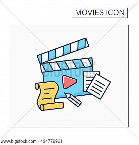 Plot Color Icon. Sequence Of Events, Principle Of Cause-and-effect. Main Element For Creating Movies