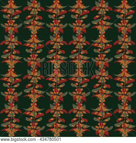 Earthy Ochre Brown And Green Wild Meadow Flower Seamless Vector Pattern. Arts And Crafts Style Sea H
