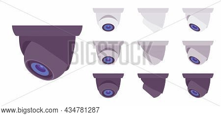 Cctv, Closed Circuit Television Equipment Set, Security Surveillance Dome Camera. Professional Video