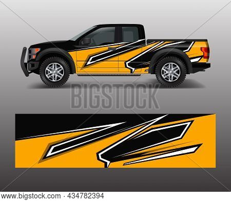 Custom Livery Race Rally Offroad Car Vehicle Sticker And Tinting. Car Wrap Decal Design Vector