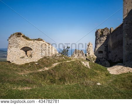 Ruins Of Lietava Medieval Castle Nearby Zilina Town In Sulov Mountains, Slovakia, Europe