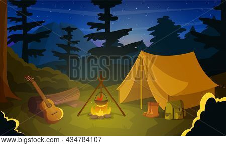 Summer Camp With Tent, Fire And Guitar At Night Time. Campfire With Tent, Log And Guitar For Summert