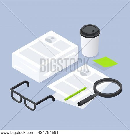 Job Recruiting Isometric Paperwork Vector Illustration. Recruiter Workplace Two Stack Of Paper Sheet
