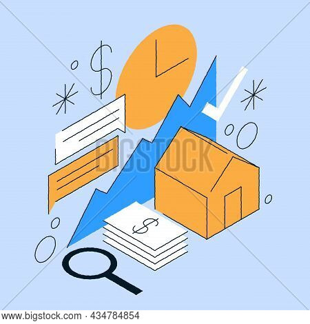 Real Estate Price Increase Isometric Vector Illustration. Diagram Growth Marketing Financial Analysi