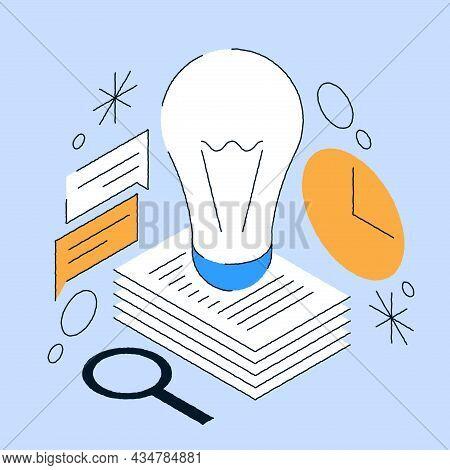 Brainstorming Innovation Idea Concept Vector Isometric Illustration. Outline Light Bulb Lamp Generat