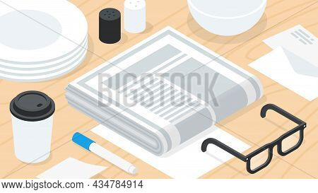 Morning Newspaper Breakfast Isometric Vector Illustration. Serving Wooden Table With Daily Postal. R