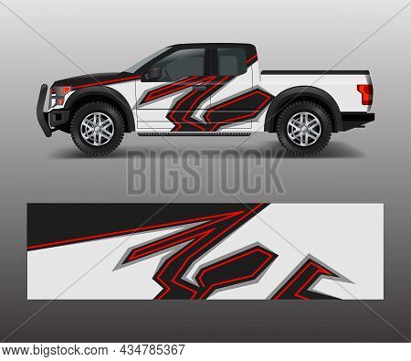 Wrap Graphic Design Vector For Off Road Truck. Abstract Sporty And Adventure Racing Background. Full