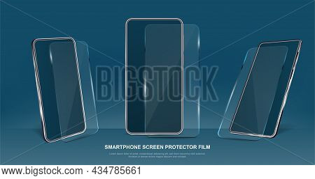 Set Of Smartphone Glass Screen Protectors On Dark Blue Background. Smartphone With Transparent Plast