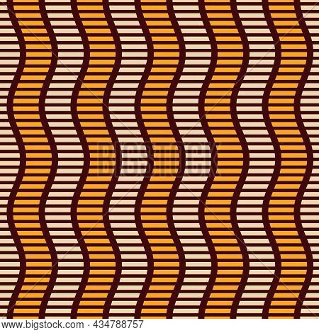 Seamless African Fashion Striped Vector Pattern. Wavy Striped Lines, Stripes. Bright, Vibrant Colors