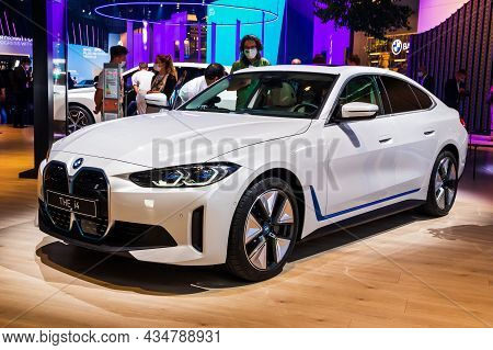 Bmw I4 All-electric Gran Coupe Car Showcased At The Iaa Mobility 2021 Motor Show In Munich, Germany