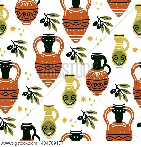 Seamless Pattern With Ancient Greek Vases. Background With Traditional Grecian Clay Amphoras And Bow