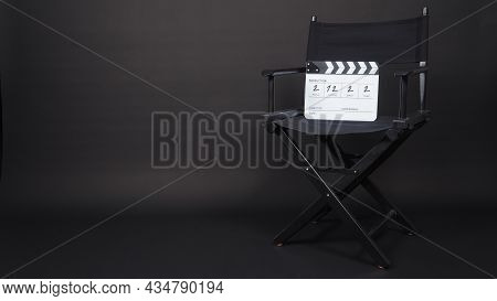 Director Chair And Black Clapper Board Or Movie Slate Use In Video Production And Movie, Film, Cinem