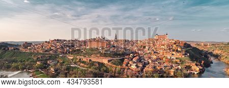 Distant Panoramic View Toledo Historical Picturesque City Surrounded By Tagus River Located On Hillt