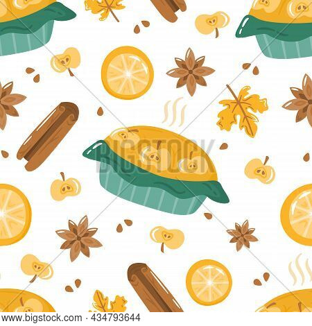 Autumn Seamless Pattern With Cute Colorful Apple Pie, Spices And Lemon. Cartoon Fall Elements For Fa