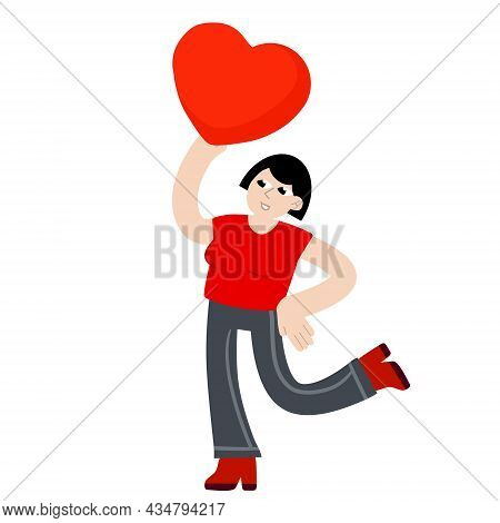Woman Dance With Heart. Young Female Character. Romance And Love. Girl With A Cute Gift.