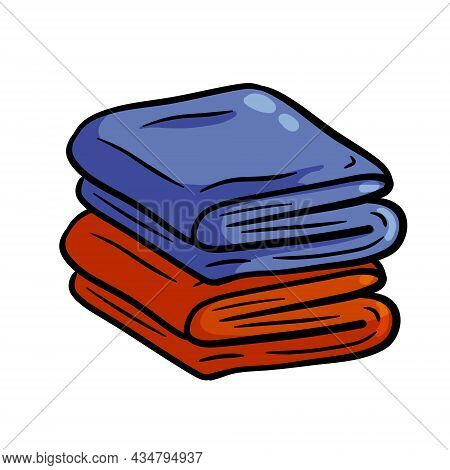 Folded Towel Or Cloth. Color Stack Of Fabric. Outline Drawing. Isolated Cartoon Illustration. Packed