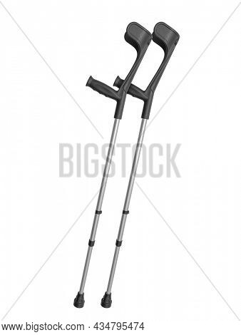 Photo of a pair of crutches isolated on white with detailed clipping path
