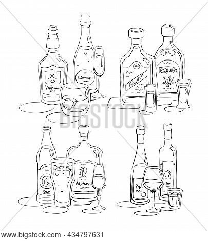 Bottle And Glass Whiskey, Champagne, Rum, Tequila, Beer, Liquor, Wine, Vodka Together In Hand Drawn