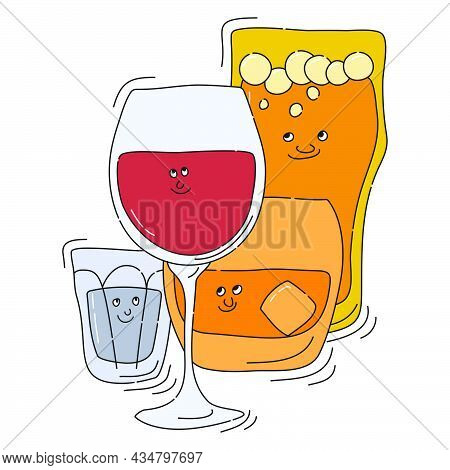 Red Wine Whiskey Beer Vodka Glassware With Smile Face On White Background. Cartoon Sketch. Doodle St