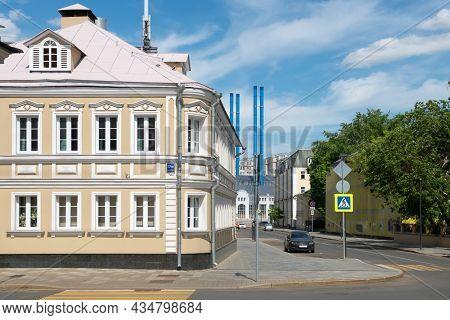 Moscow, Russia - May 23, 2021: Crossroads View On The 1st Golutvinsky Lane And Bolshaya Yakimanka St
