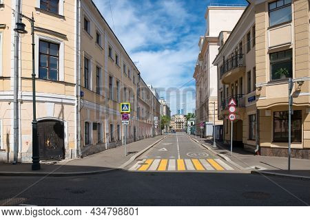 Moscow, Russia - May 23, 2021: View Of Polyansky Lane From The Side Of Brodnikovsky Lane