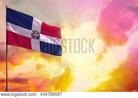 Fluttering Dominican Republic Flag In Left Top Corner Mockup With The Place For Your Information On