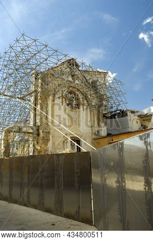 Reconstruction Of Buildings In Norcia After The 2016 Earthquake, Umbria, Italy