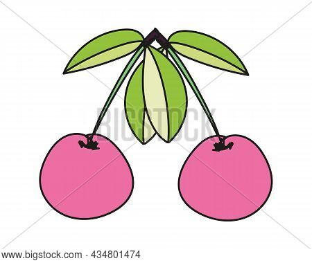 Vector Illustration Of A Pair Of Cherries Or Sweet Cherries In Doodle Style.