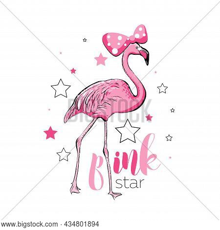 Cute Print With Pink Flamingo, Vector Eps 10.