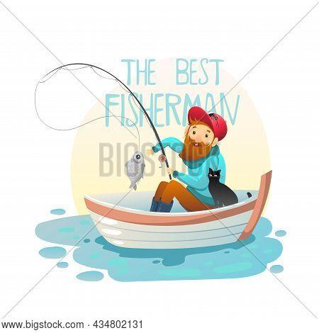 Hipater Fisherman On The Boat, Vector Illustration Eps 10.
