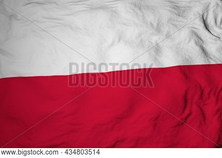 Full Frame Close-up On A Waving Polish Flag In 3d Rendering.