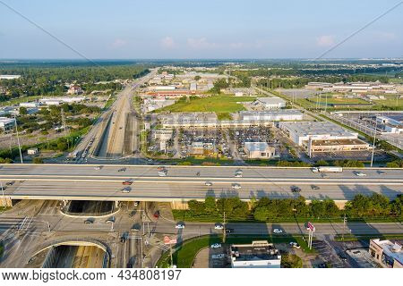 20 September 2021 Houston, Tx Usa: Aerial View Interstate 45, Highway Road Junction At Southeast Sid