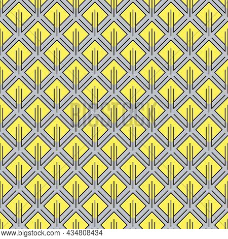 Abstract Geometric Pattern With Yellow Rhombuses And Other Curly Elements. Seamless Background, Simp