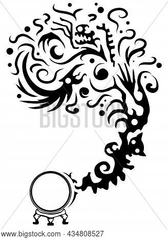 Crystal Ball Manifestation Mysticism Spiritual, Decorative Black Design Element, Vector Illustration