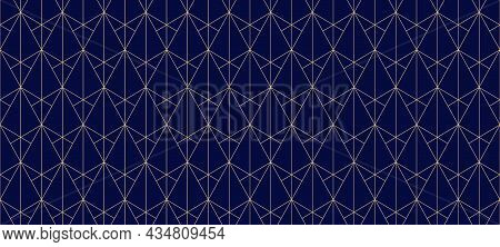 Golden Lines Pattern. Vector Geometric Seamless Texture With Subtle Grid, Thin Lines, Triangles, Dia