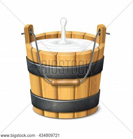 3d Realistic Vector Icon. Wooden Rustic Bucket. Milk. Natural Yogurt. Isolated On White Background.