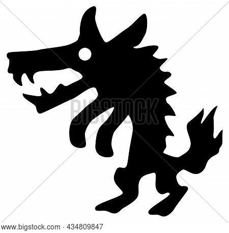 Monster Halloween Creature Werewolf Silhouette Stencil Black, Vector Illustration, Horizontal, Over