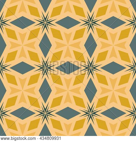 Delicate Floral Seamless Pattern. Vector Gold, Teal, Yellow, Ornamental Background. Leaf Ornament. B