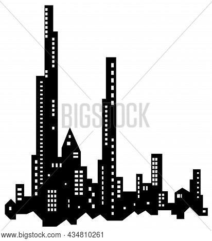 Skyline City Fragment Silhouette Outline Black, Vector Illustration, Horizontal, Over White, Isolate