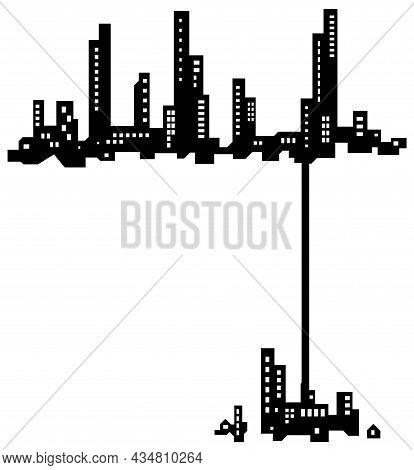 Skyline City Offshoot Silhouette Outline Black, Vector Illustration, Horizontal, Over White, Isolate