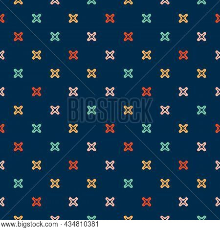Seamless Funny And Trendy Pattern. Vector Illustration With Colorful Small Crosses, Plus Signs. The