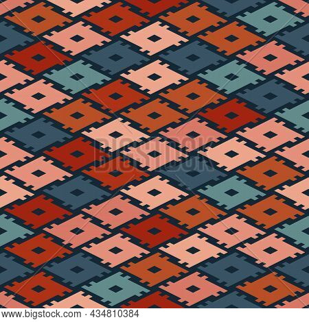 Vector Geo Ethnic Pattern. Seamless Tribal Illustration With Colorful Lines And Shapes. The Ornament