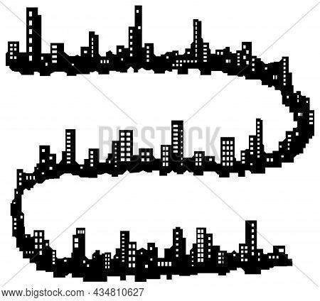 Skyline City Long Snaking Shape Silhouette Outline Black, Vector Illustration, Horizontal, Over Whit